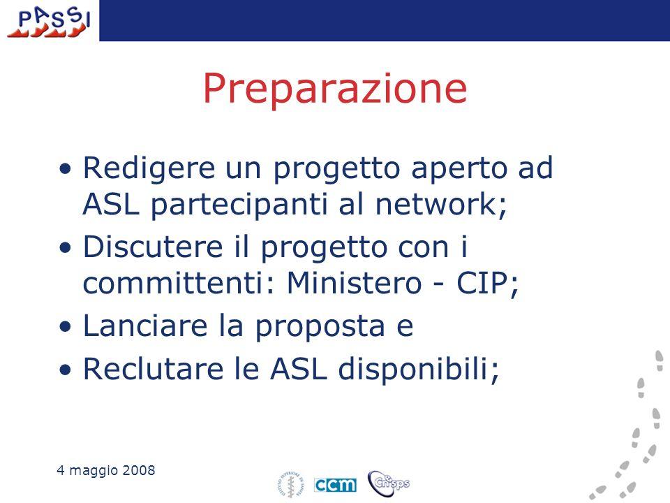 Preparazione Redigere un progetto aperto ad ASL partecipanti al network; Discutere il progetto con i committenti: Ministero - CIP; Lanciare la propost