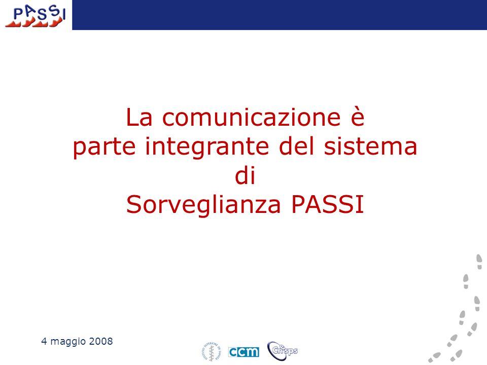 4 maggio 2008 La comunicazione è parte integrante del sistema di Sorveglianza PASSI