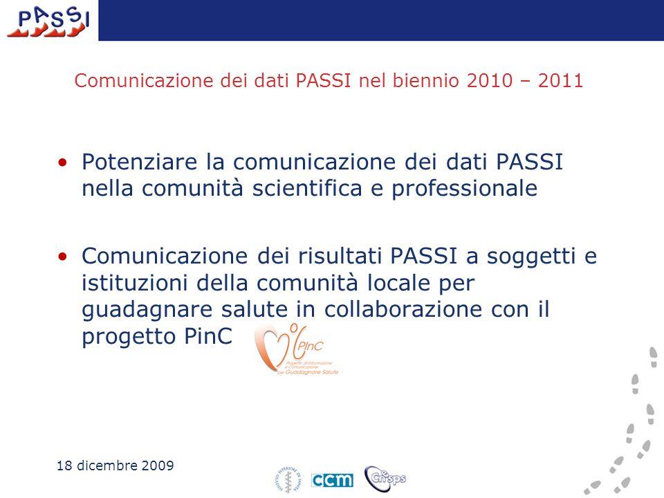 Comunicazione dei dati PASSI nel biennio 2010 – 2011 Potenziare la comunicazione dei dati PASSI nella comunità scientifica e professionale Comunicazione dei risultati PASSI a soggetti e istituzioni della comunità locale per guadagnare salute in collaborazione con il progetto PinC 18 dicembre 2009