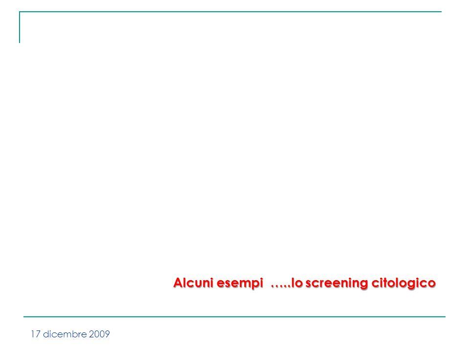 Alcuni esempi …..lo screening citologico 17 dicembre 2009