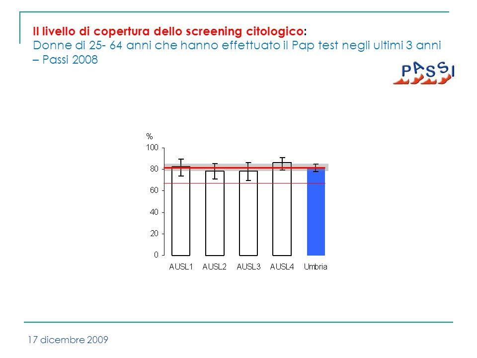 Il livello di copertura dello screening citologico: Donne di 25- 64 anni che hanno effettuato il Pap test negli ultimi 3 anni – Passi 2008 17 dicembre 2009