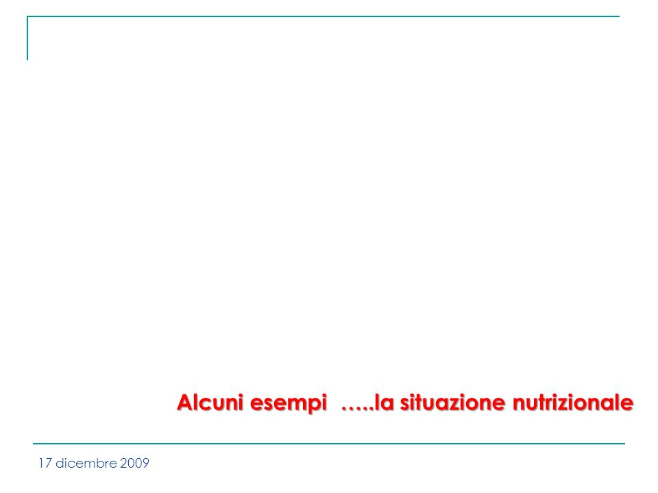 Alcuni esempi …..la situazione nutrizionale 17 dicembre 2009
