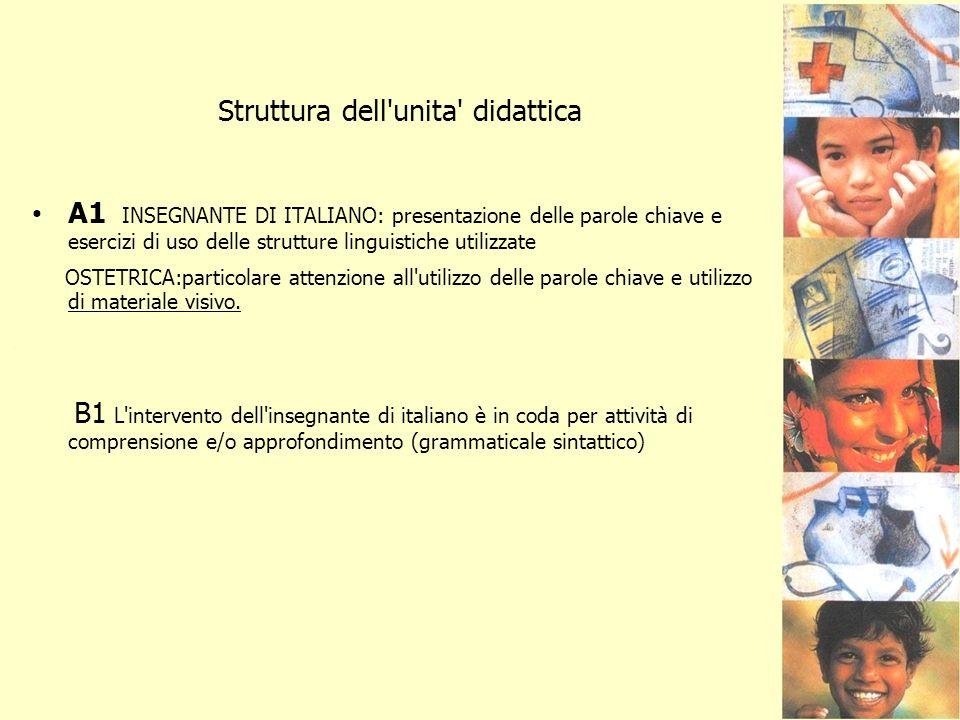 Struttura dell'unita' didattica A1 INSEGNANTE DI ITALIANO: presentazione delle parole chiave e esercizi di uso delle strutture linguistiche utilizzate