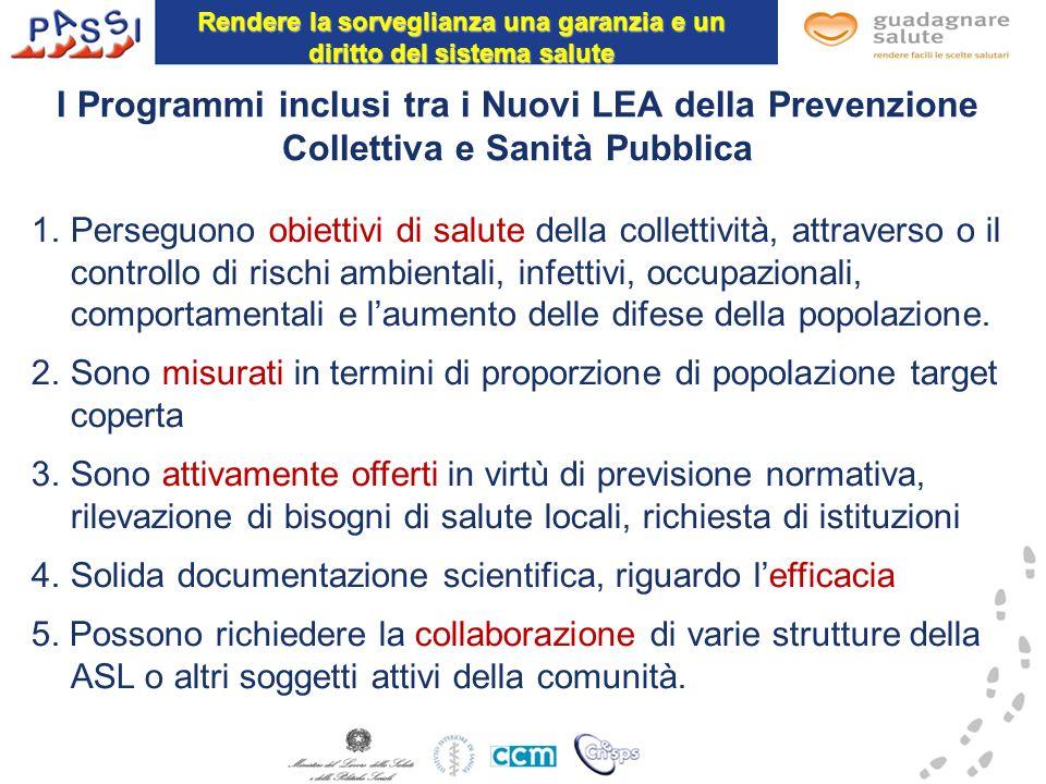I Programmi inclusi tra i Nuovi LEA della Prevenzione Collettiva e Sanità Pubblica 1.Perseguono obiettivi di salute della collettività, attraverso o i