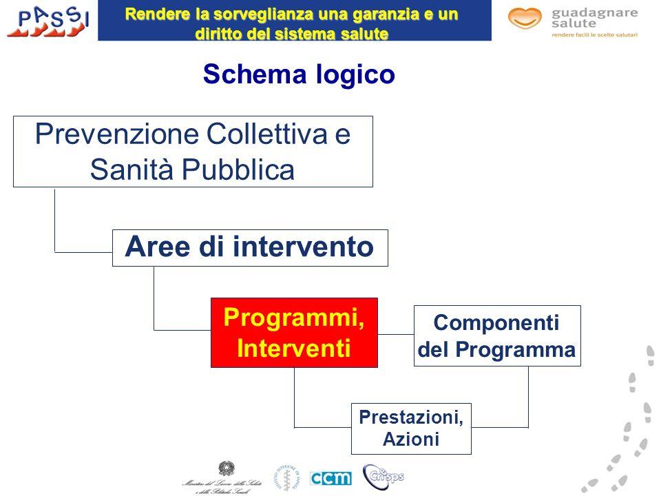 Schema logico Aree di intervento Programmi, Interventi Prestazioni, Azioni Prevenzione Collettiva e Sanità Pubblica Componenti del Programma Rendere l