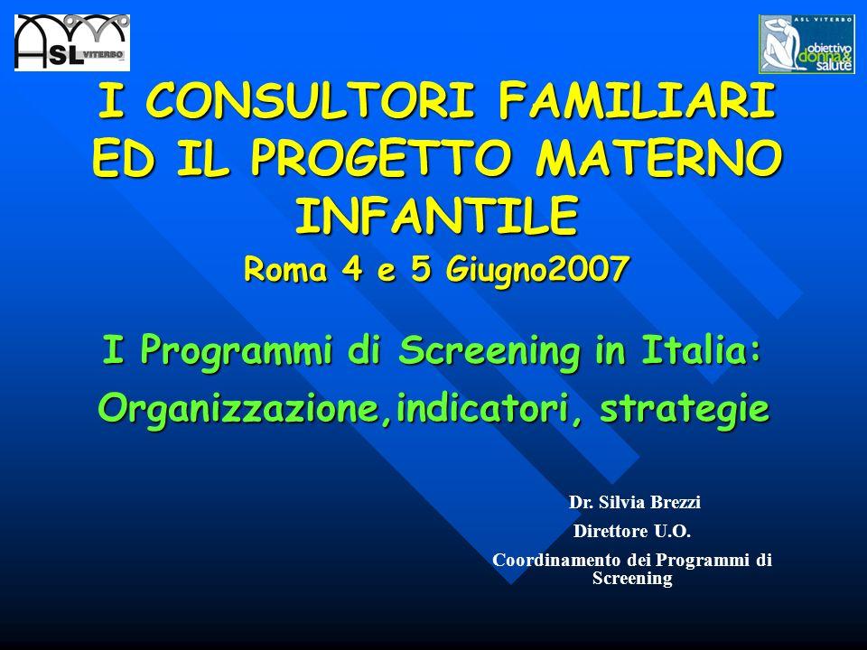 Dr. Silvia Brezzi Direttore U.O. Coordinamento dei Programmi di Screening I CONSULTORI FAMILIARI ED IL PROGETTO MATERNO INFANTILE Roma 4 e 5 Giugno200
