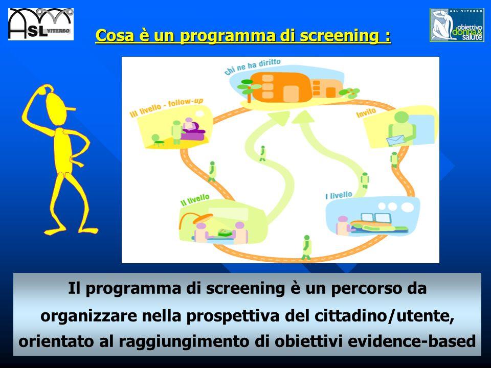 Cosa è un programma di screening : Il programma di screening è un percorso da organizzare nella prospettiva del cittadino/utente, orientato al raggiun