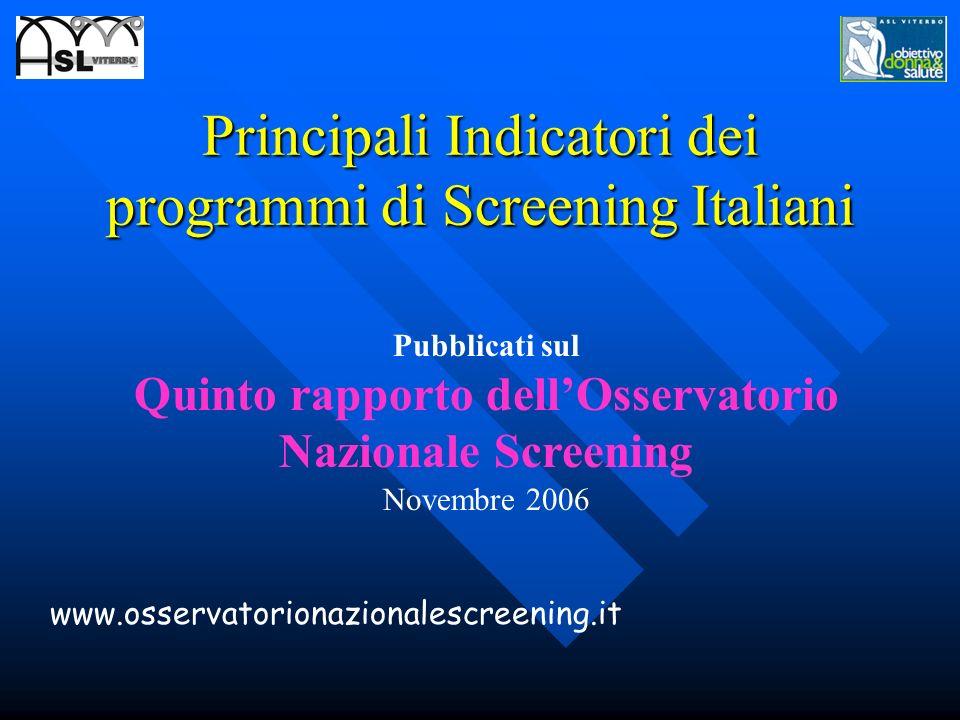 Principali Indicatori dei programmi di Screening Italiani Pubblicati sul Quinto rapporto dellOsservatorio Nazionale Screening Novembre 2006 www.osserv