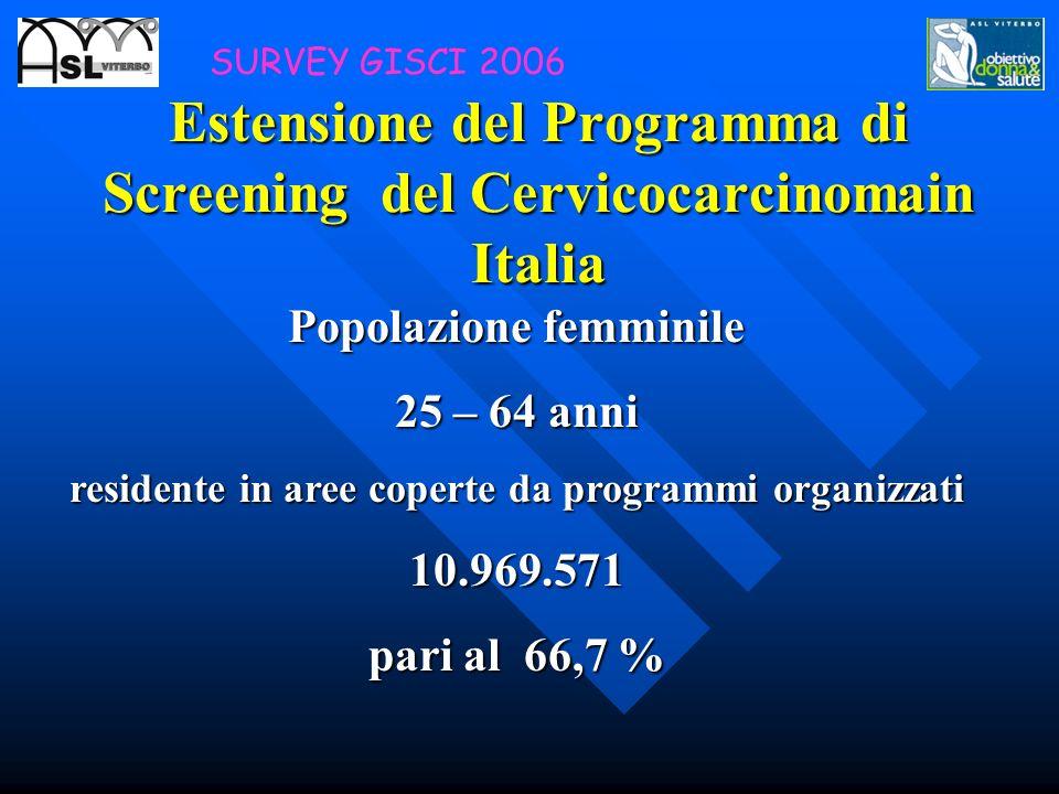 Estensione del Programma di Screening del Cervicocarcinomain Italia Popolazione femminile 25 – 64 anni residente in aree coperte da programmi organizz