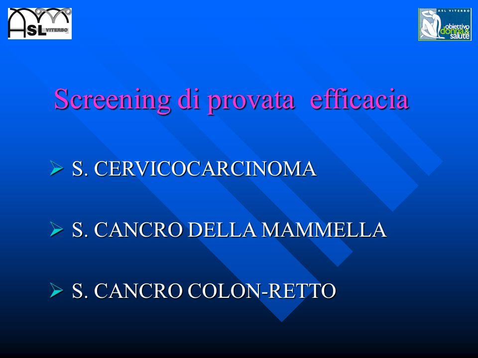 Screening di provata efficacia S. CERVICOCARCINOMA S. CERVICOCARCINOMA S. CANCRO DELLA MAMMELLA S. CANCRO DELLA MAMMELLA S. CANCRO COLON-RETTO S. CANC