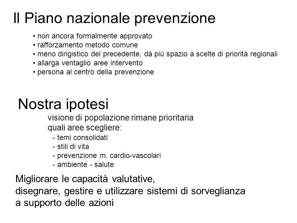 Il Piano nazionale prevenzione Nostra ipotesi visione di popolazione rimane prioritaria quali aree scegliere: - temi consolidati - stili di vita - prevenzione m.
