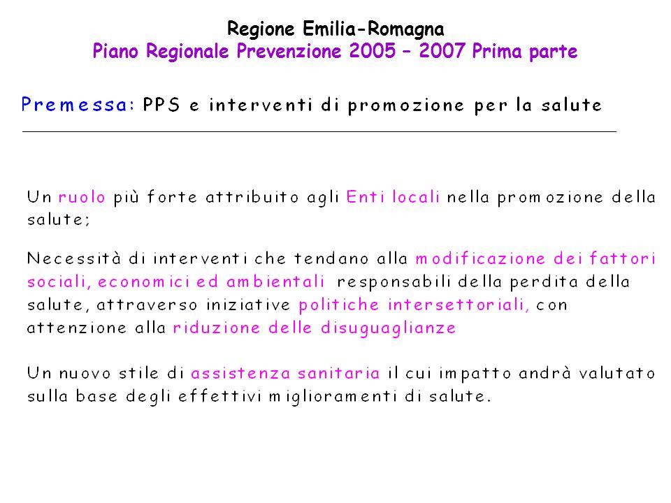 Regione Emilia-Romagna Piano Regionale Prevenzione 2005 – 2007 Prima parte
