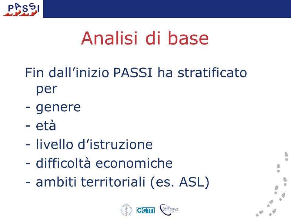 Analisi di base Fin dallinizio PASSI ha stratificato per -genere -età -livello distruzione -difficoltà economiche -ambiti territoriali (es. ASL)