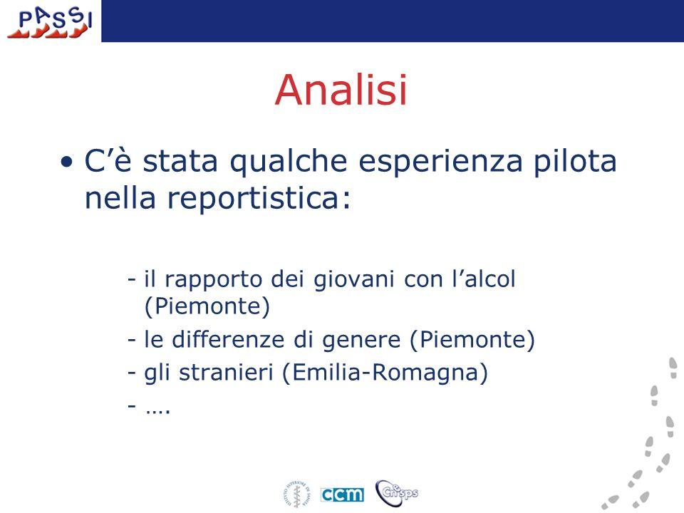 Analisi Cè stata qualche esperienza pilota nella reportistica: -il rapporto dei giovani con lalcol (Piemonte) -le differenze di genere (Piemonte) -gli stranieri (Emilia-Romagna) - ….