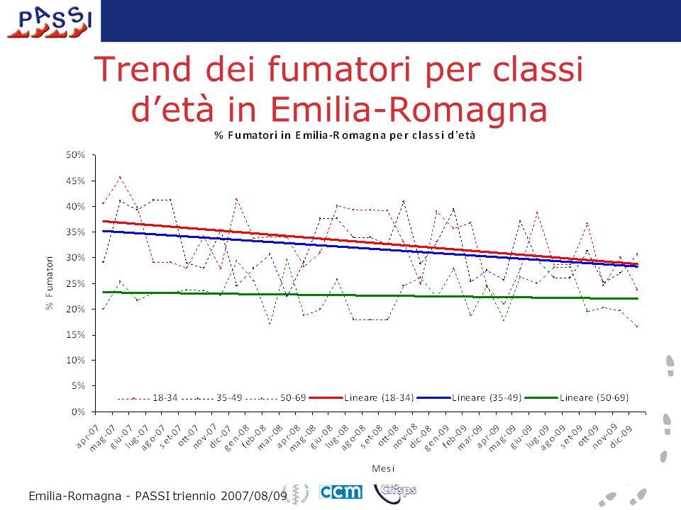 Trend dei fumatori per classi detà in Emilia-Romagna Emilia-Romagna - PASSI triennio 2007/08/09