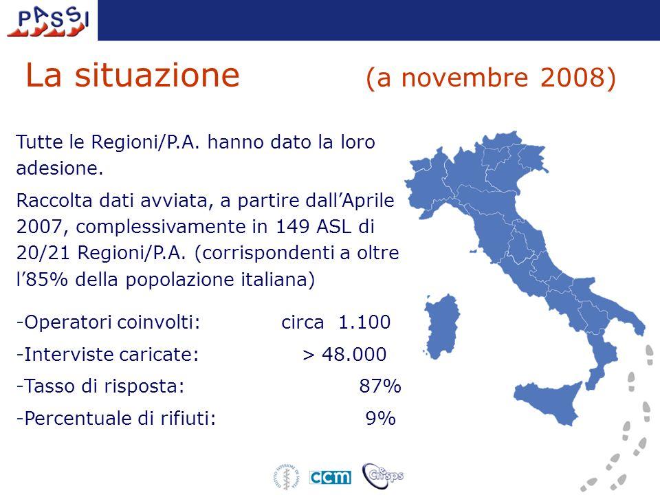 La situazione (a novembre 2008) Tutte le Regioni/P.A. hanno dato la loro adesione. Raccolta dati avviata, a partire dallAprile 2007, complessivamente
