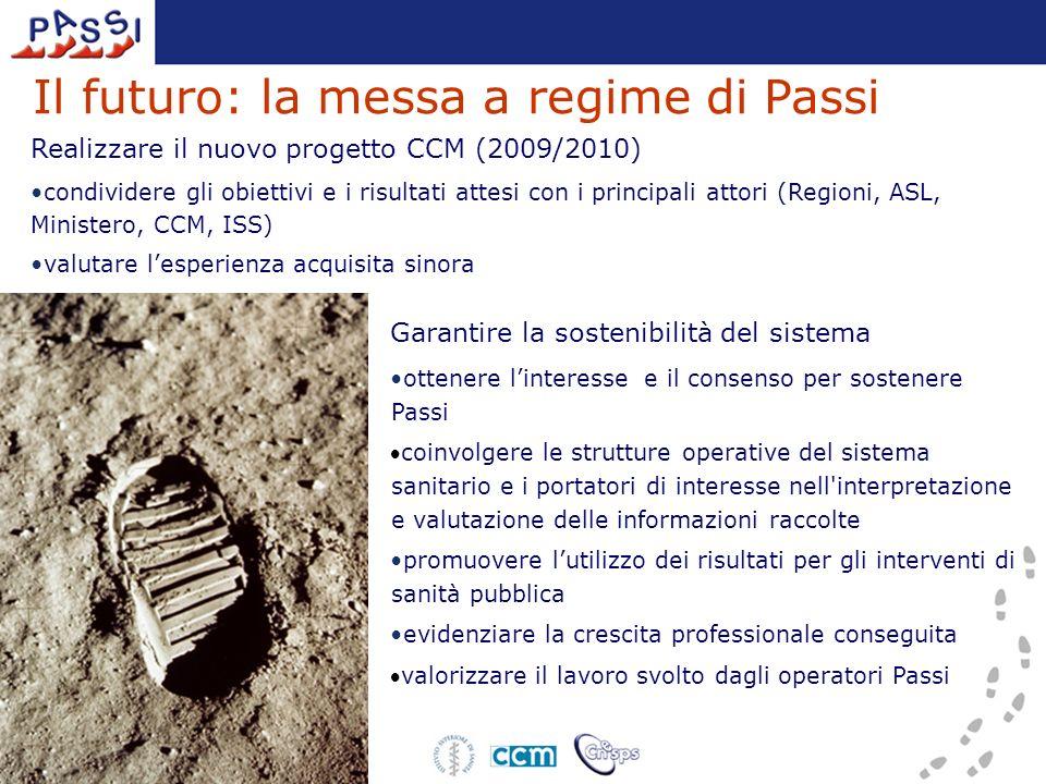 Il futuro: la messa a regime di Passi Garantire la sostenibilità del sistema ottenere linteresse e il consenso per sostenere Passi coinvolgere le stru