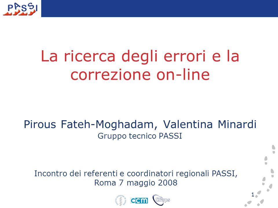 1 La ricerca degli errori e la correzione on-line Pirous Fateh-Moghadam, Valentina Minardi Gruppo tecnico PASSI Incontro dei referenti e coordinatori regionali PASSI, Roma 7 maggio 2008