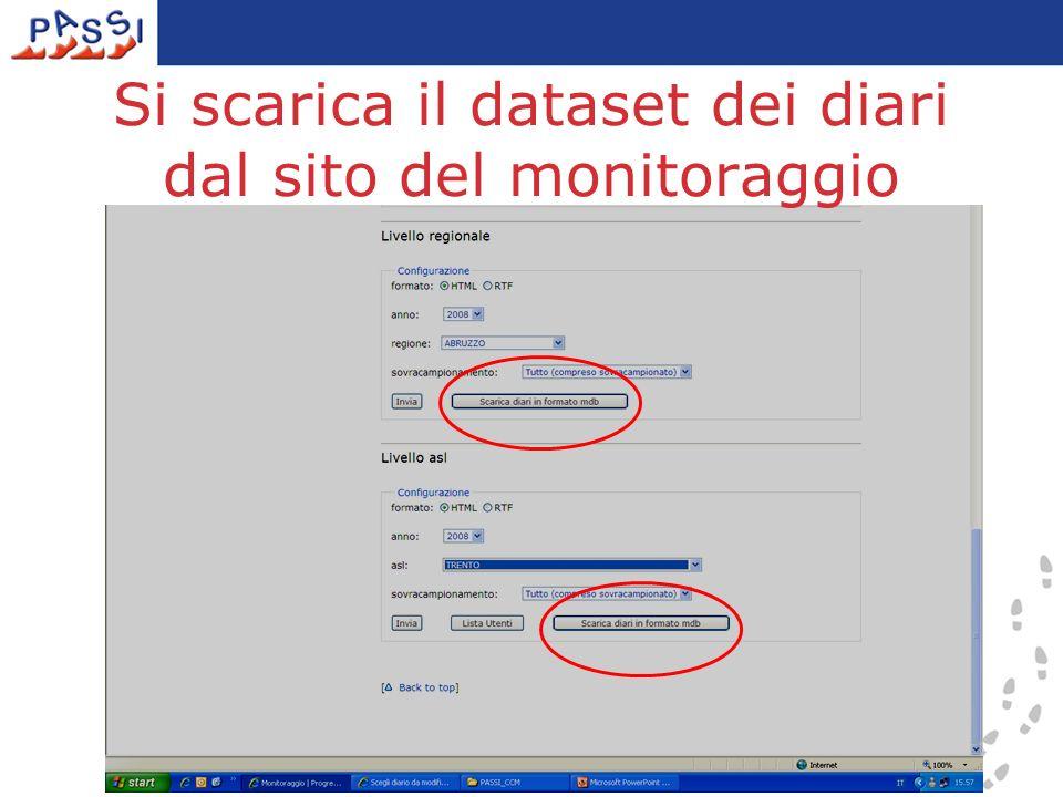 6 Si scarica il dataset dei diari dal sito del monitoraggio