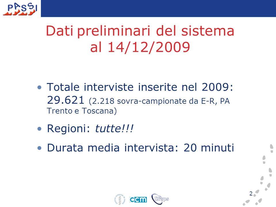 2 Dati preliminari del sistema al 14/12/2009 Totale interviste inserite nel 2009: 29.621 (2.218 sovra-campionate da E-R, PA Trento e Toscana) Regioni: tutte!!.