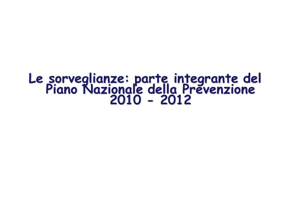 Le sorveglianze: parte integrante del Piano Nazionale della Prevenzione 2010 - 2012