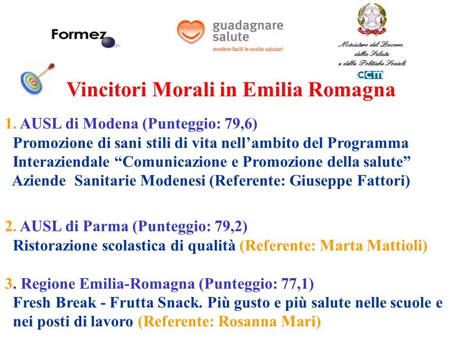 Vincitori Morali in Emilia Romagna 1.