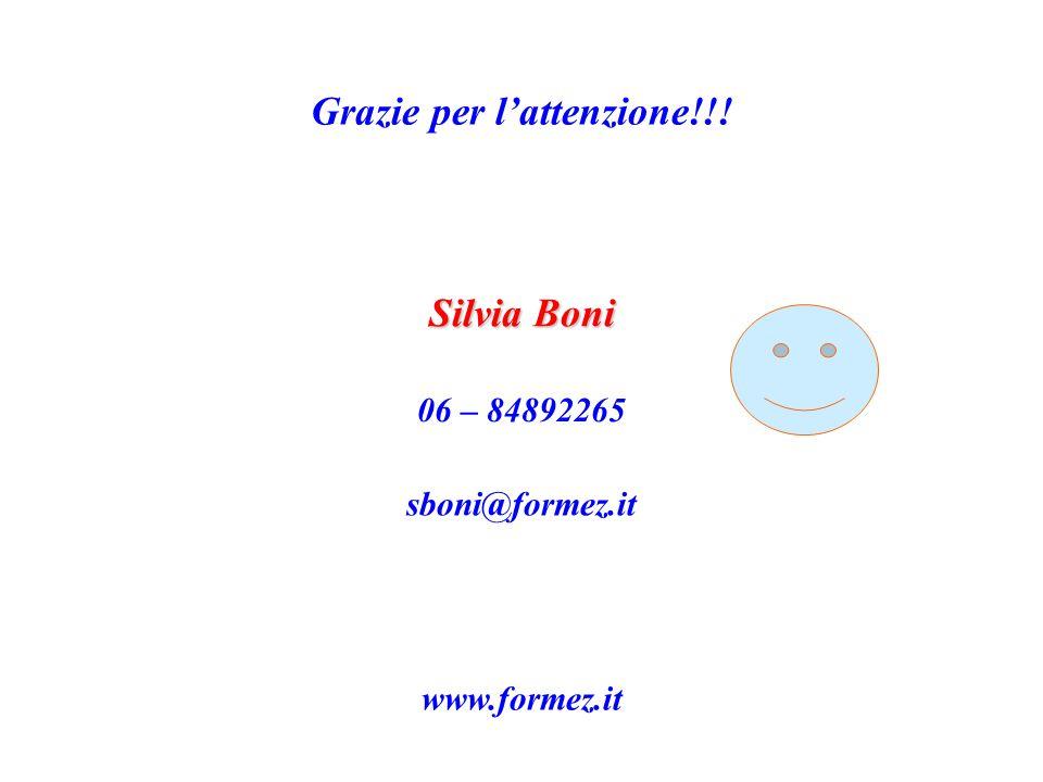 Grazie per lattenzione!!! Silvia Boni 06 – 84892265 sboni@formez.it www.formez.it