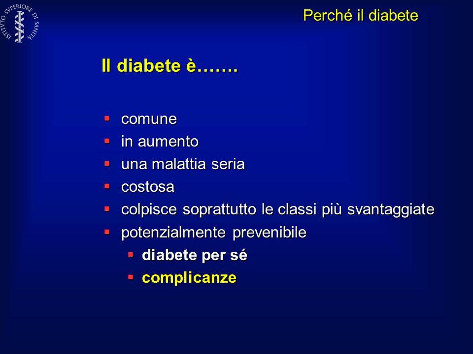 Il diabete è……. comune comune in aumento in aumento una malattia seria una malattia seria costosa costosa colpisce soprattutto le classi più svantaggi