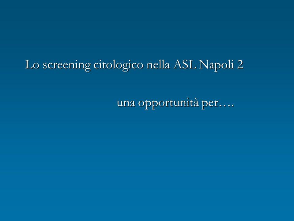 Lo screening citologico nella ASL Napoli 2 una opportunità per…. una opportunità per….