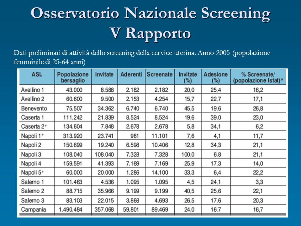 Osservatorio Nazionale Screening V Rapporto Dati preliminari di attività dello screening della cervice uterina. Anno 2005 (popolazione femminile di 25