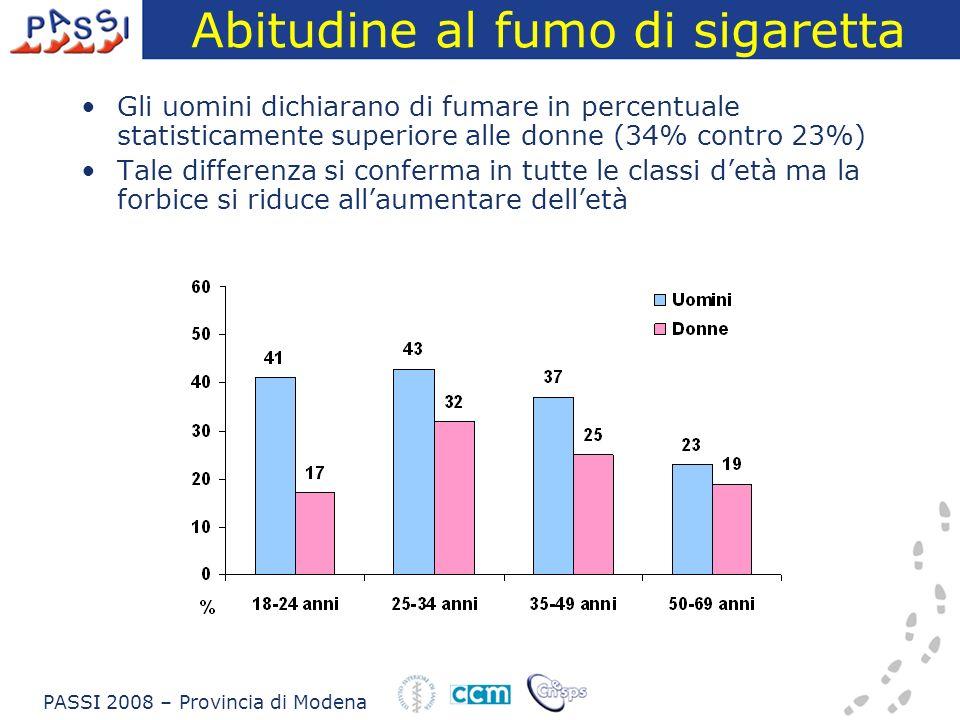 Abitudine al fumo di sigaretta Gli uomini dichiarano di fumare in percentuale statisticamente superiore alle donne (34% contro 23%) Tale differenza si