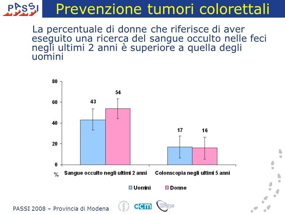 Prevenzione tumori colorettali La percentuale di donne che riferisce di aver eseguito una ricerca del sangue occulto nelle feci negli ultimi 2 anni è