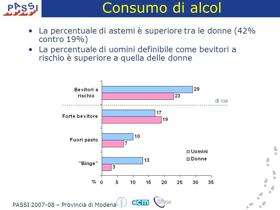 Consumo di alcol La percentuale di astemi è superiore tra le donne (42% contro 19%) La percentuale di uomini definibile come bevitori a rischio è supe