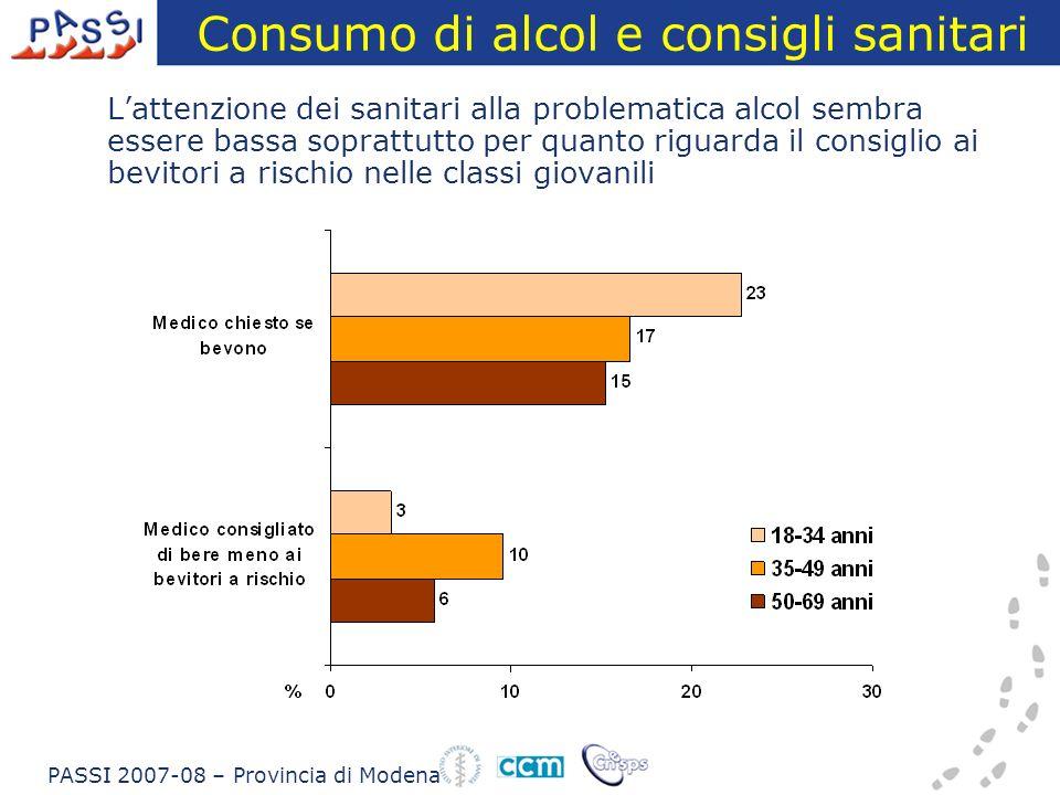 Consumo di alcol e consigli sanitari Lattenzione dei sanitari alla problematica alcol sembra essere bassa soprattutto per quanto riguarda il consiglio ai bevitori a rischio nelle classi giovanili PASSI 2007-08 – Provincia di Modena