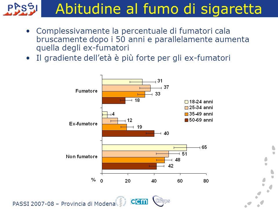 Abitudine al fumo di sigaretta Complessivamente la percentuale di fumatori cala bruscamente dopo i 50 anni e parallelamente aumenta quella degli ex-fumatori Il gradiente delletà è più forte per gli ex-fumatori PASSI 2007-08 – Provincia di Modena