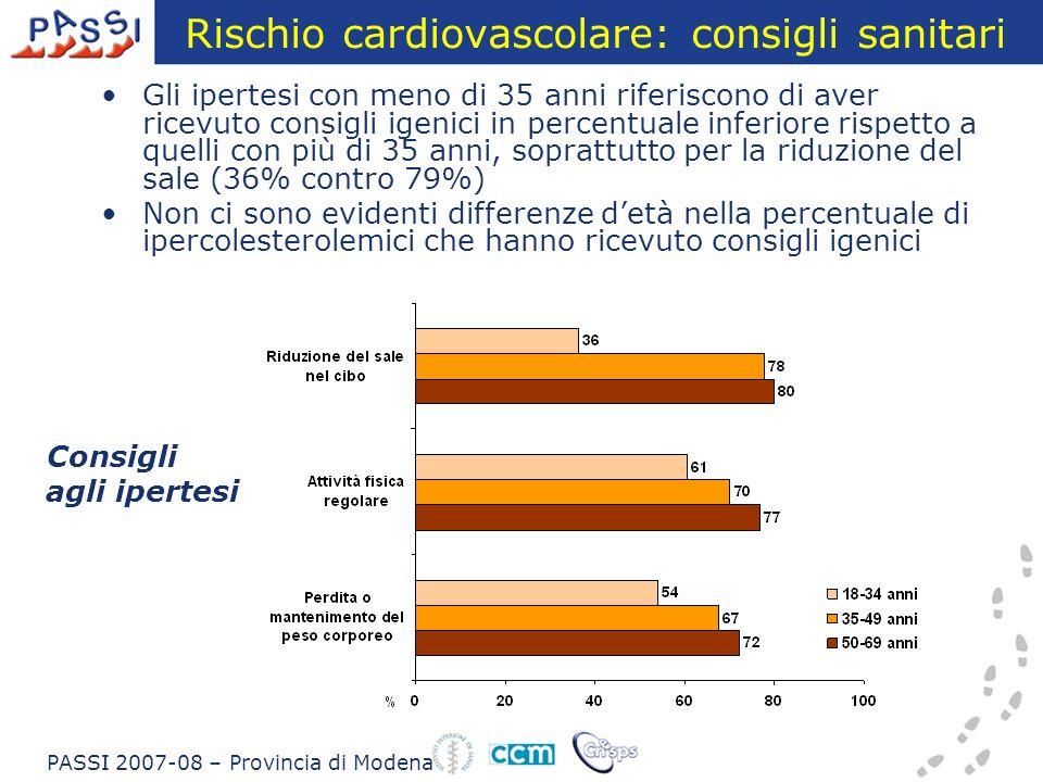 Rischio cardiovascolare: consigli sanitari Gli ipertesi con meno di 35 anni riferiscono di aver ricevuto consigli igenici in percentuale inferiore rispetto a quelli con più di 35 anni, soprattutto per la riduzione del sale (36% contro 79%) Non ci sono evidenti differenze detà nella percentuale di ipercolesterolemici che hanno ricevuto consigli igenici PASSI 2007-08 – Provincia di Modena Consigli agli ipertesi