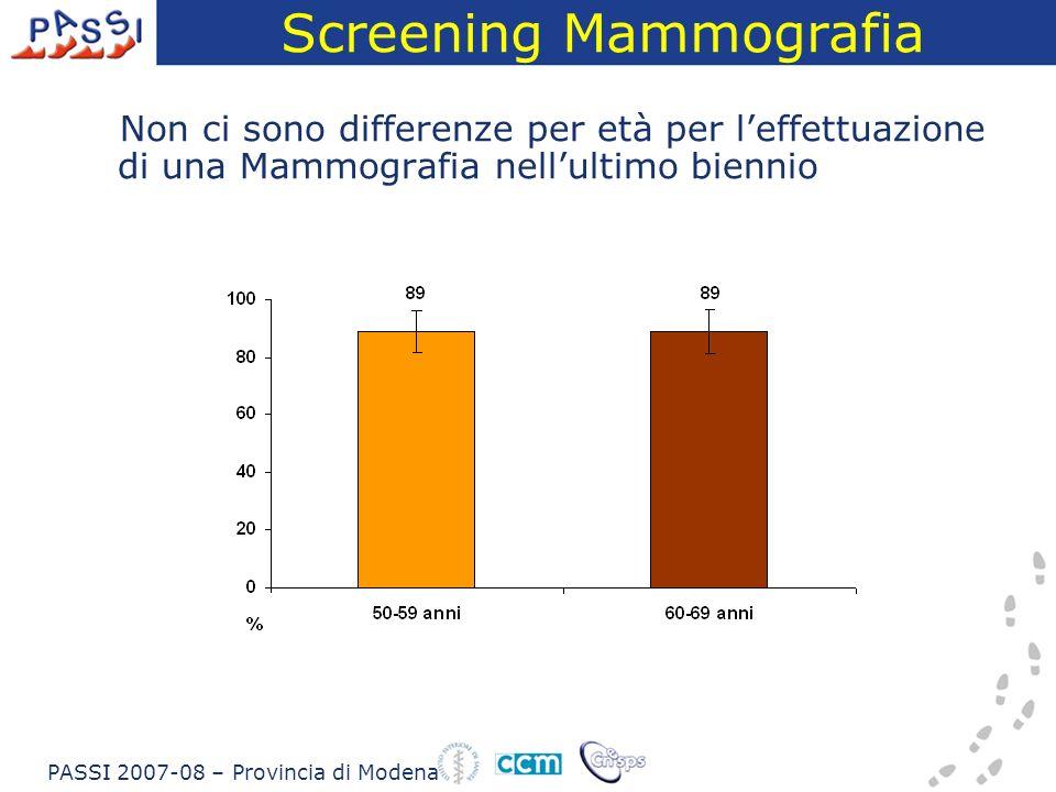 Screening Mammografia Non ci sono differenze per età per leffettuazione di una Mammografia nellultimo biennio PASSI 2007-08 – Provincia di Modena