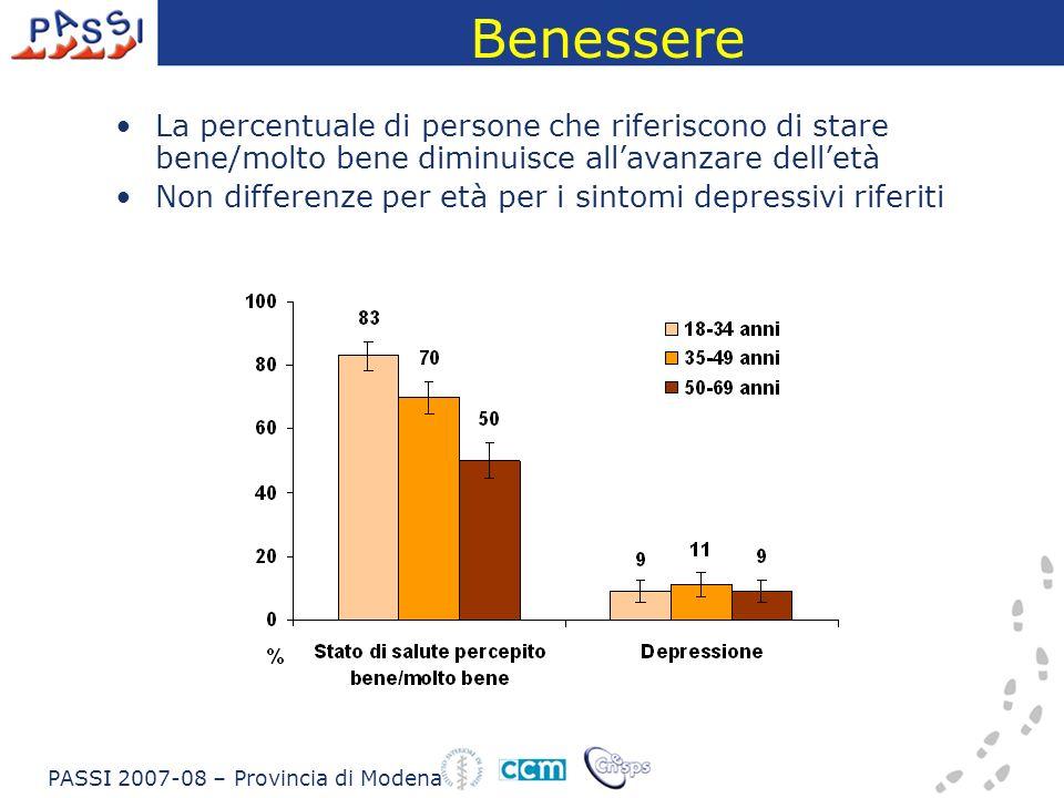 La percentuale di persone che riferiscono di stare bene/molto bene diminuisce allavanzare delletà Non differenze per età per i sintomi depressivi riferiti PASSI 2007-08 – Provincia di Modena