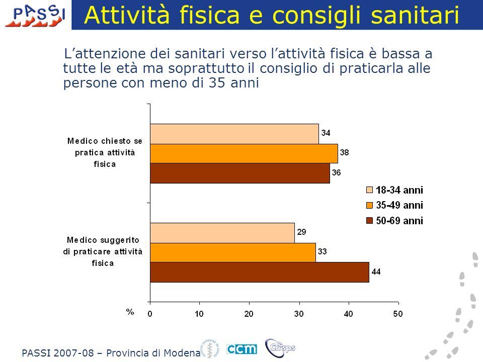 Stato nutrizionale Leccesso ponderale aumenta con letà PASSI 2008 – Provincia di Modena
