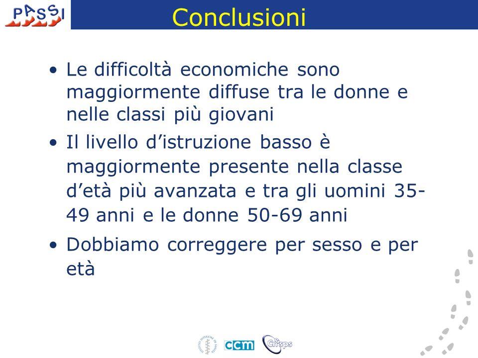 Conclusioni Le difficoltà economiche sono maggiormente diffuse tra le donne e nelle classi più giovani Il livello distruzione basso è maggiormente pre
