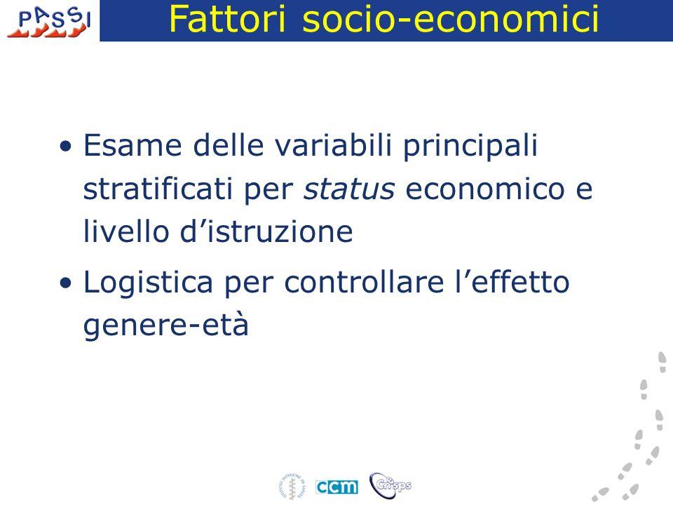 Esame delle variabili principali stratificati per status economico e livello distruzione Logistica per controllare leffetto genere-età Fattori socio-economici