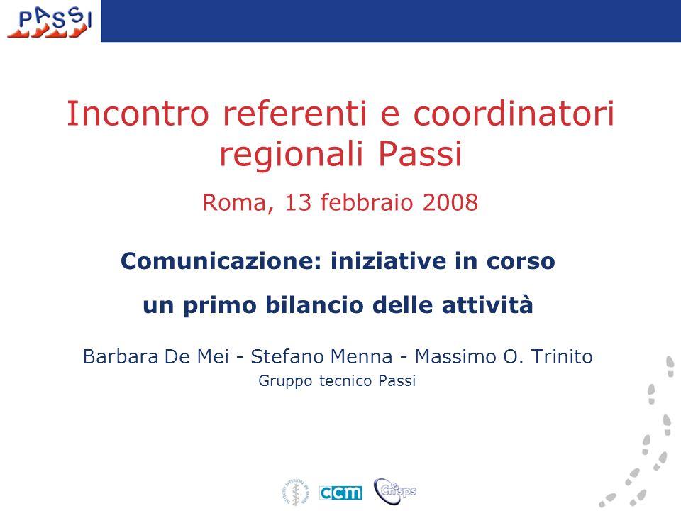 Incontro referenti e coordinatori regionali Passi Roma, 13 febbraio 2008 Comunicazione: iniziative in corso un primo bilancio delle attività Barbara De Mei - Stefano Menna - Massimo O.
