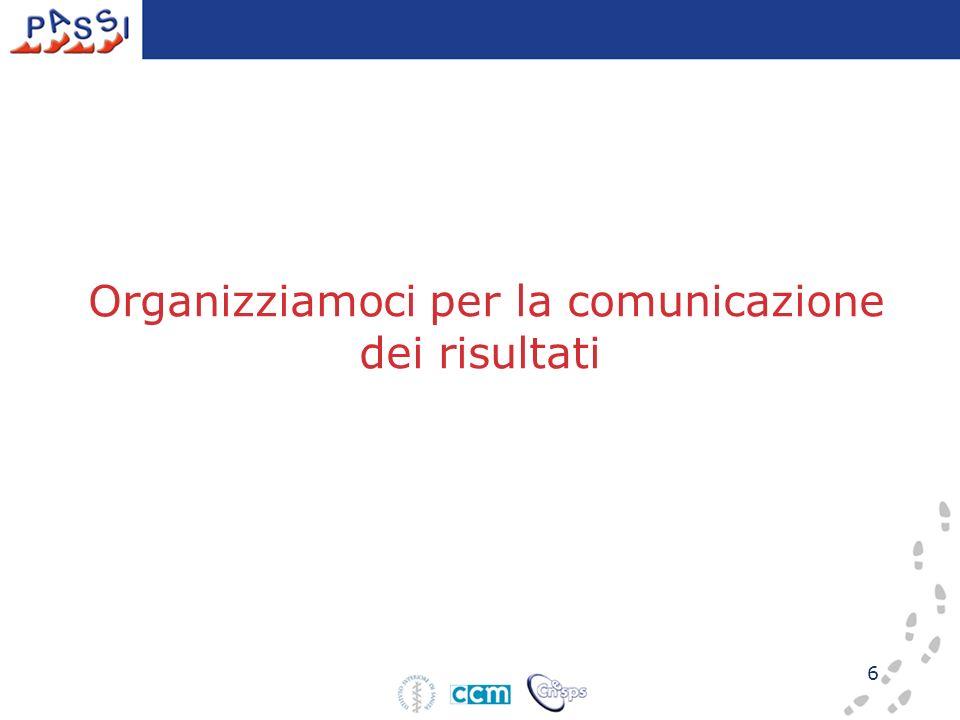 6 Organizziamoci per la comunicazione dei risultati