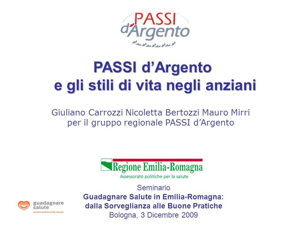 Giuliano Carrozzi Nicoletta Bertozzi Mauro Mirri per il gruppo regionale PASSI dArgento PASSI dArgento e gli stili di vita negli anziani Seminario Gua