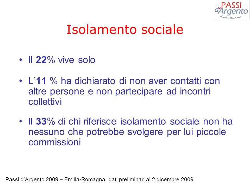 Isolamento sociale Il 22% vive solo L11 % ha dichiarato di non aver contatti con altre persone e non partecipare ad incontri collettivi Il 33% di chi