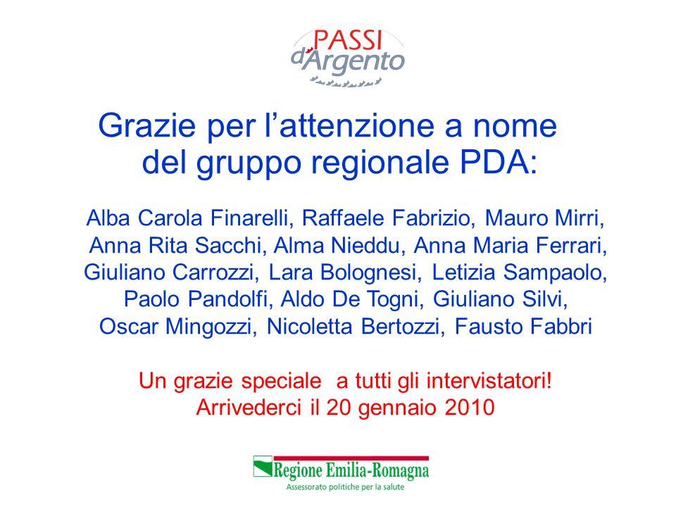 Grazie per lattenzione a nome del gruppo regionale PDA: Alba Carola Finarelli, Raffaele Fabrizio, Mauro Mirri, Anna Rita Sacchi, Alma Nieddu, Anna Mar