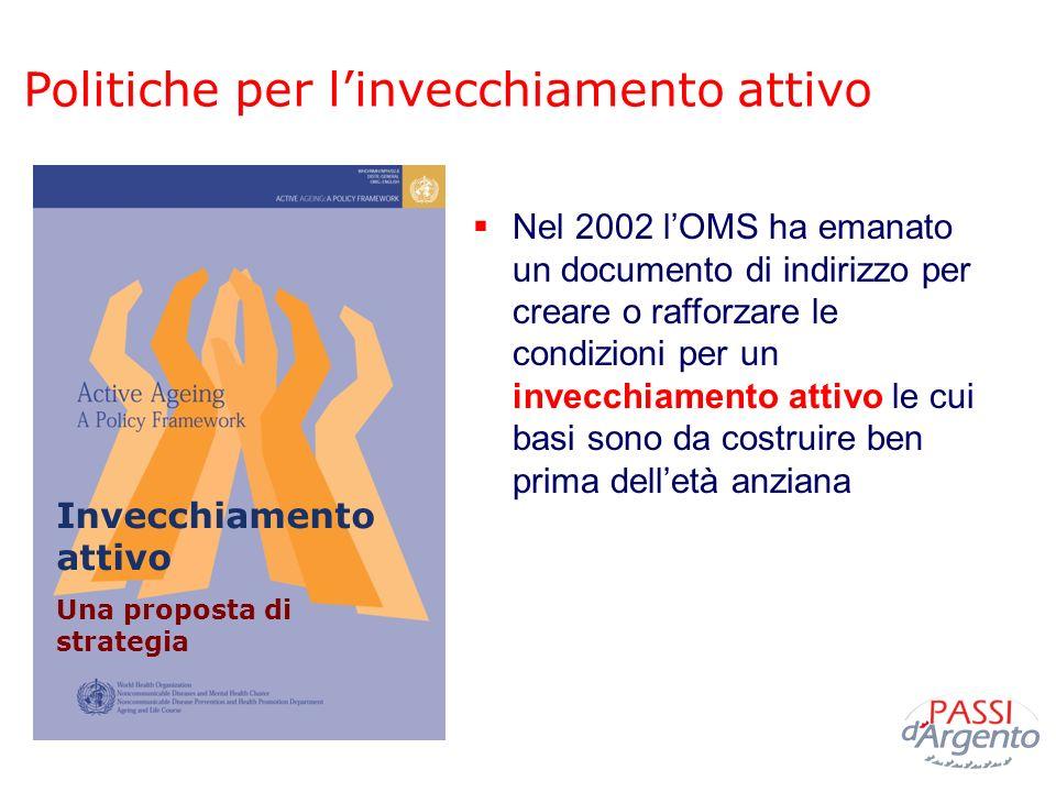 Politiche per linvecchiamento attivo Nel 2002 lOMS ha emanato un documento di indirizzo per creare o rafforzare le condizioni per un invecchiamento at