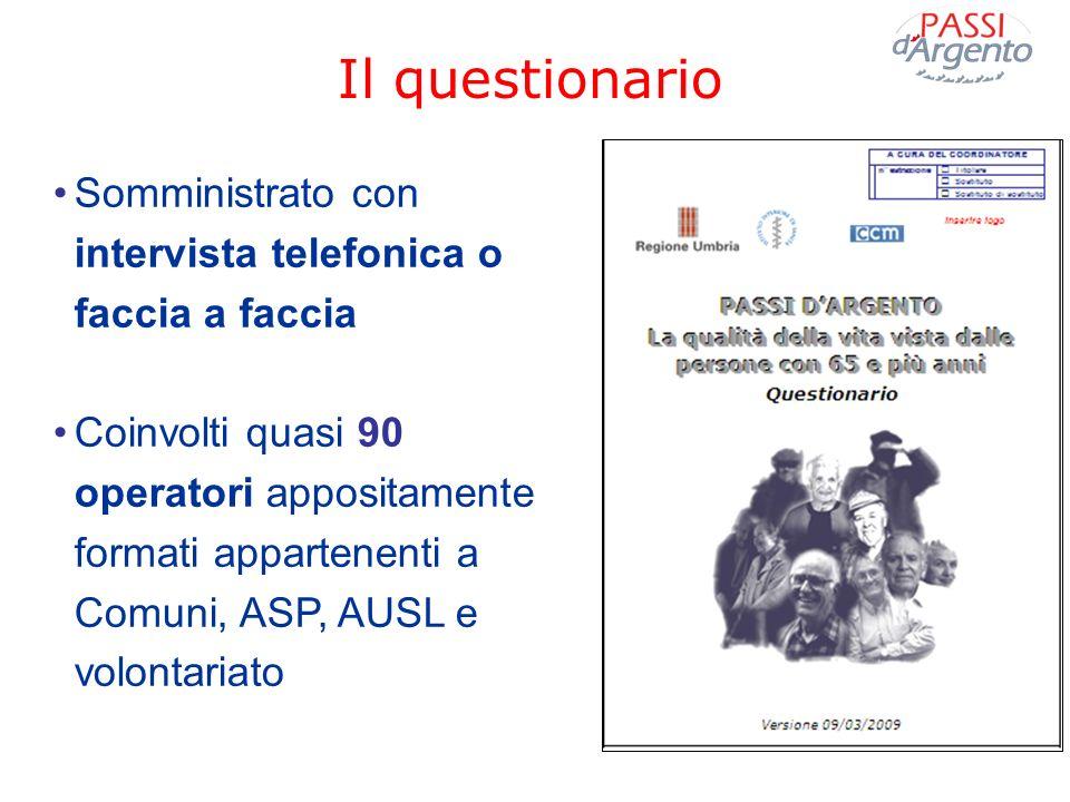 Il questionario Somministrato con intervista telefonica o faccia a faccia Coinvolti quasi 90 operatori appositamente formati appartenenti a Comuni, AS