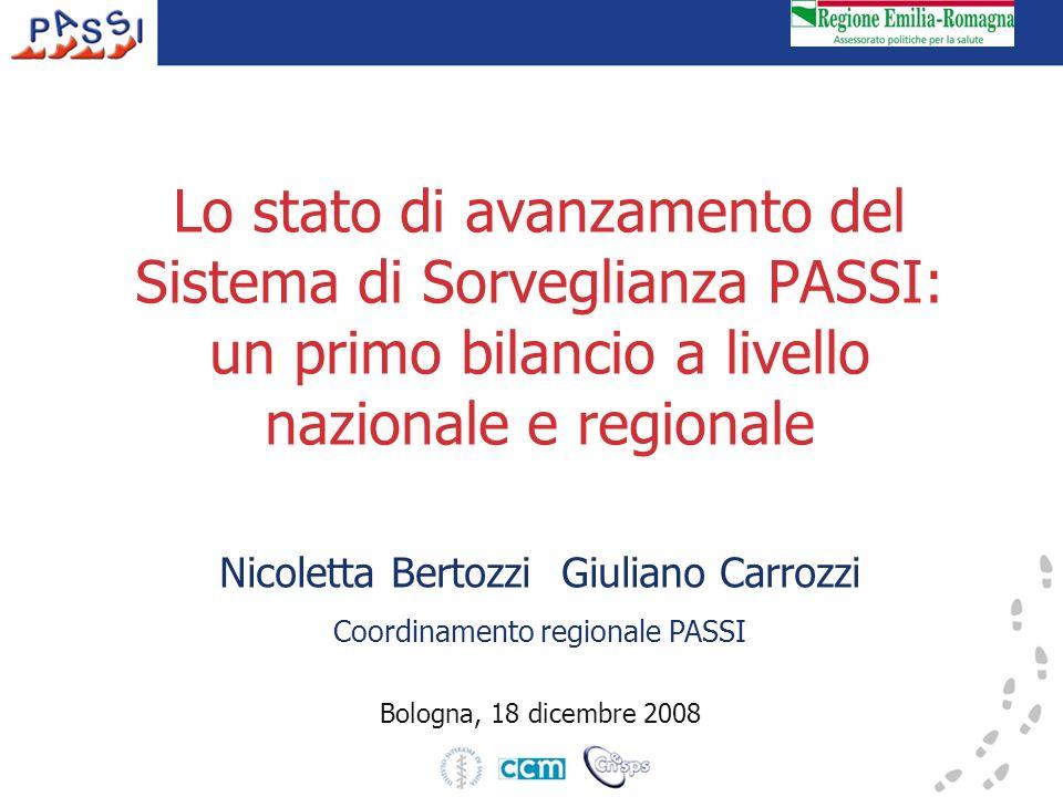 Lo stato di avanzamento del Sistema di Sorveglianza PASSI: un primo bilancio a livello nazionale e regionale Nicoletta Bertozzi Giuliano Carrozzi Coordinamento regionale PASSI Bologna, 18 dicembre 2008