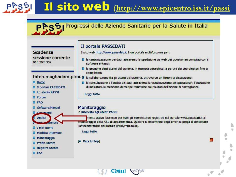 Il sito web (http://www.epicentro.iss.it/passi
